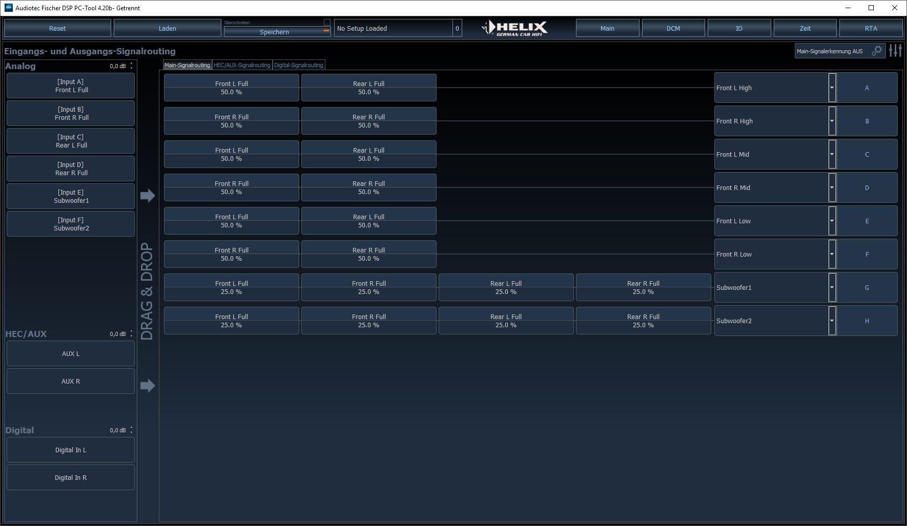 Input - Output menu DSP PC-Tool V4